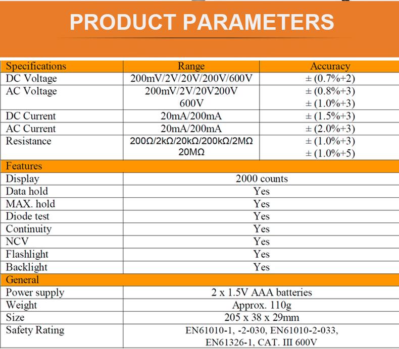 مشخصات مولتی متر قلمی PeakMeter PM8211